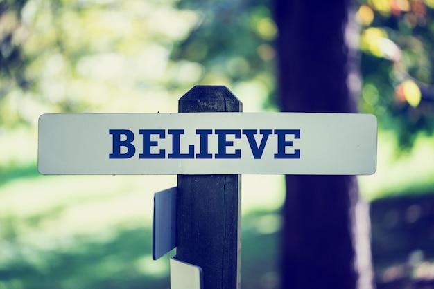 Image effet délavé vintage d'un panneau en bois rustique dans les bois avec le mot - believe - dans une image conceptuelle.