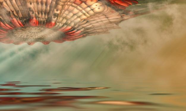 Image fantastique de l'arrivée d'un ovni, au-dessus de la surface de l'eau. illustration 3d