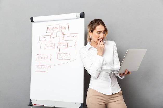 Image de femme d'affaires caucasienne en tenue de soirée à l'aide de flipchart et ordinateur portable tout en faisant la présentation au bureau, isolé
