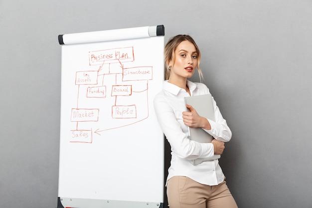 Image de femme d'affaires européenne en tenue de soirée à l'aide de flipchart et ordinateur portable tout en faisant la présentation au bureau, isolé