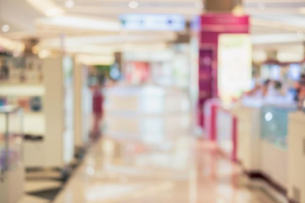Image floue abstraite du département de cosmétiques dans le centre commercial
