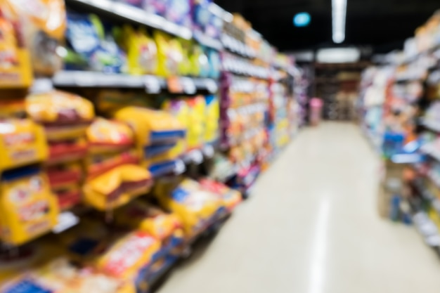 Image floue de magasin d'alimentation de supermarché de nourriture pour animaux