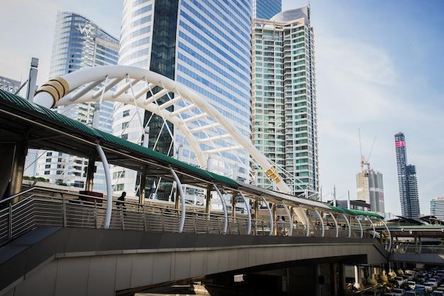 Image de gratte-ciels avec le pont et le ciel.