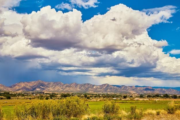 Image de gros nuages d'orage blancs frappant les montagnes du désert avec un champ vert luxuriant et des fleurs au premier plan