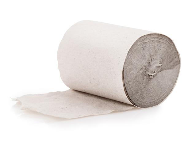 Image en gros plan du studio de papier toilette isolé sur fond blanc