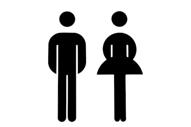 Image illustrée d'un homme et d'une femme sur un fond blanc isolé illustration noir et blanc
