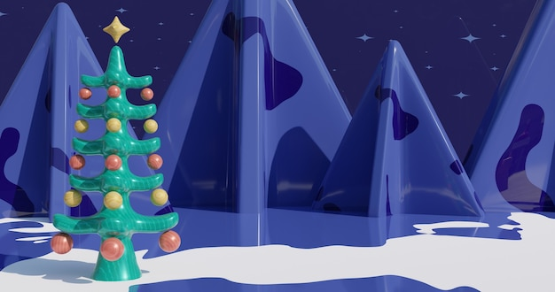 Image inspirante de la nouvelle année 2021 décorée d'un arbre de noël. illustration de rendu 3d en 4k. montagnes enneigées sur fond.