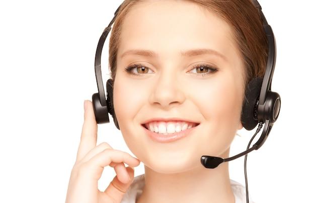 Image lumineuse d'une opératrice amicale de ligne d'assistance