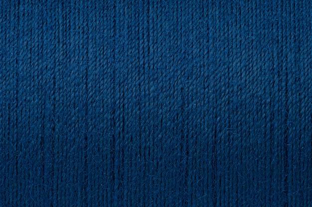 Image de macro de fond de texture de fil bleu foncé