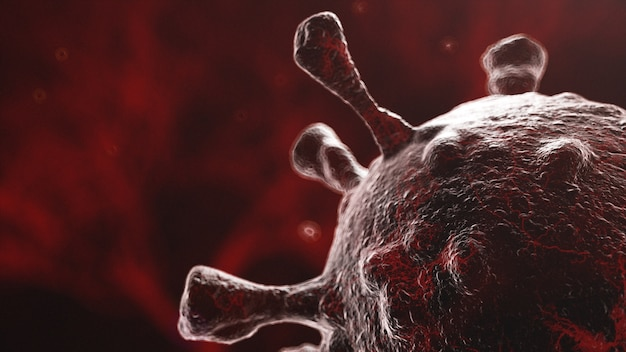 Image microscopique du virus se propageant dans l'organisme, fond de bactéries brun foncé