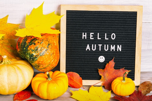 Image de nature morte d'automne avec des citrouilles, un feuillage d'érable coloré et un tableau de lettres avec des mots hello autumn contre un mur en bois blanc.