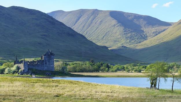 L'image panoramique du château de kilchurn, sous la garde d'historic environment scotland, est une structure en ruine sur une péninsule rocheuse à loch awe au crépuscule, argyll and bute, ecosse
