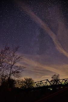Image d'un pont métallique traversant une forêt la nuit