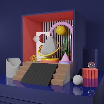 Image premium - horloge de morceaux de pierre et objet abstrait dans la boîte - rendu 3d pour publication sur les médias sociaux
