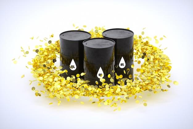 Image de rendu 3d de barils de pétrole dans un cercle de pièces d'or