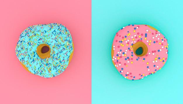Image de rendu 3d de beignets sur une surface rose et bleu clair