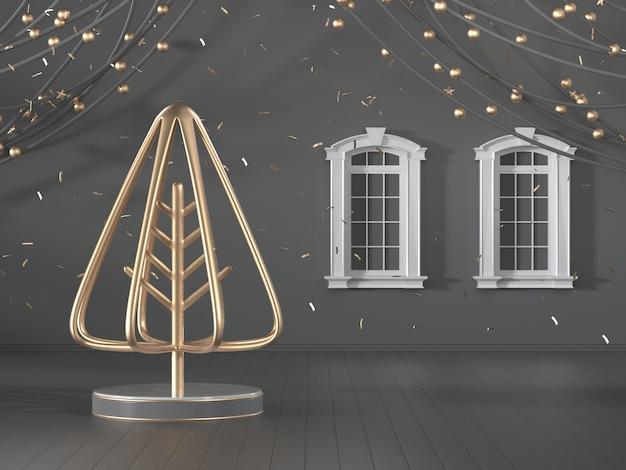 Image de rendu 3d de la conception de l'arbre de noël décorer sur une chambre de luxe noire
