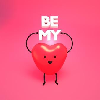 Image de rendu 3d du personnage de dessin animé mignon être mon valentine
