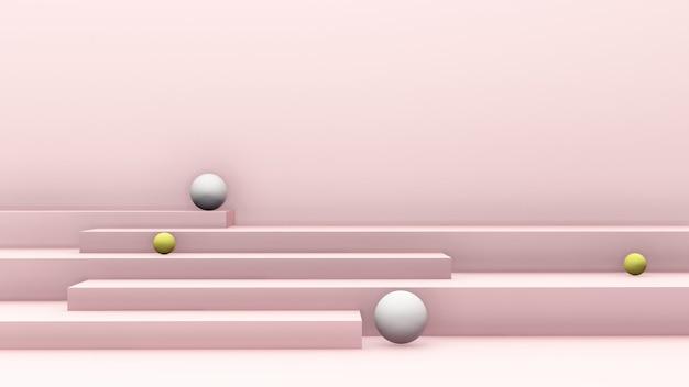Image de rendu 3d escalier rose clair avec des boules et fond rose clair pour l'affichage du produit