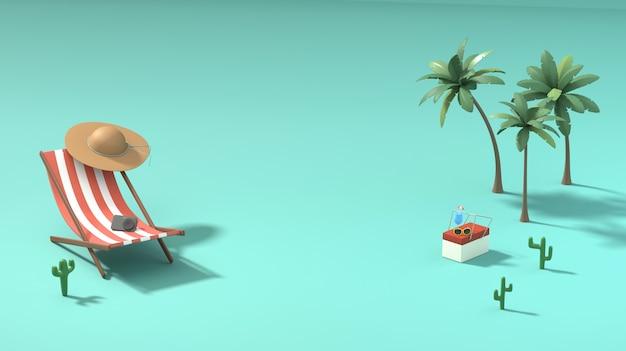 Image de rendu 3d de l'été, vacances, détente