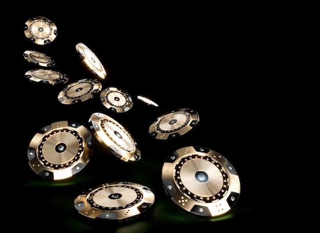 Image de rendu 3d de jetons de casino en noir et or avec insertions de diamants sur un fond sombre.
