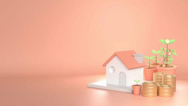 Image de rendu 3d de maison poussant sur un beau fond rose décorer avec de l'argent de la pièce d'arbre arbre.