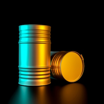 Image de rendu 3d d'une paire de barils métalliques