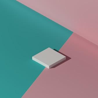 Image de rendu 3d podium blanc avec fond vert et rose pour la publicité d'affichage du produit