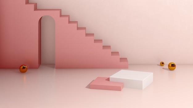 Image de rendu 3d podium blanc avec publicité d'affichage de produit sur fond rose