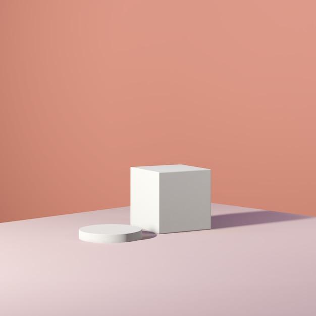 Image de rendu 3d podium blanc et sol rose avec fond de couleur marron pour la publicité d'affichage du produit