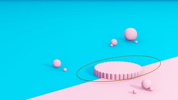 Image de rendu 3d podium rose avec des boules roses fond de couleur bleu et rose pour l'affichage du produit adve