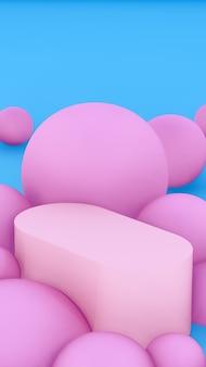 Image de rendu 3d podium rose clair avec fond en forme de boules de couleur rose pour la publicité d'affichage du produit