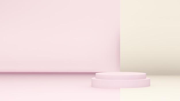Image de rendu 3d podium rose clair avec mur rose et fond de papier jaune clair pour la distribution du produit