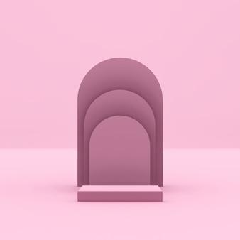 Image de rendu 3d podium rose avec fond rose pour la publicité d'affichage du produit