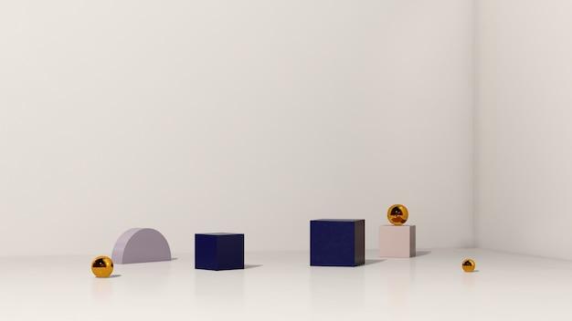 Image de rendu 3d podium violet et bleu avec publicité d'affichage de produit sur fond blanc