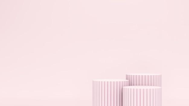 Image de rendu 3d podiums rose clair et fond rose pour la publicité d'affichage du produit