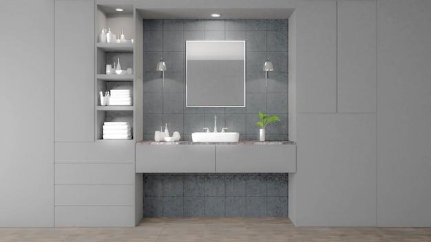 Image de rendu 3d de salle de bains blanc moderne. il y a du carrelage gris au sol et au mur.