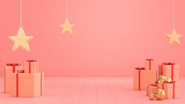 Image de rendu 3d de la scène de boîte-cadeau de noël pour l'espace de copie.