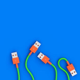 Image de rendu 3d d'une série de câbles usb dans un style plat.
