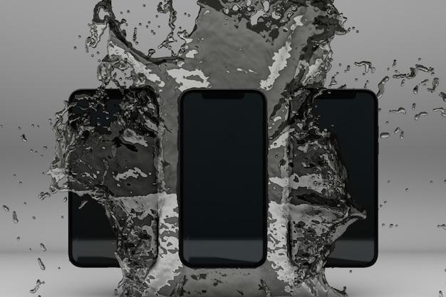 Image en rendu 3d de smartphone éclaboussant dans l'eau sur gris