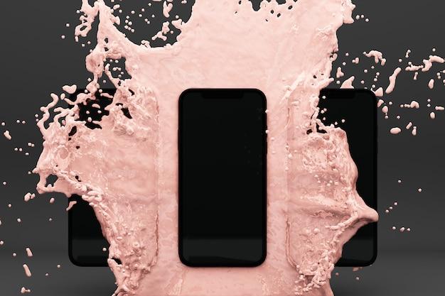 Image en rendu 3d de smartphone éclaboussant dans l'eau rose sur fond gris