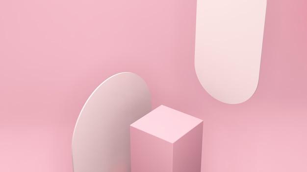 Image de rendu 3d vue en perspective à vol d'oiseau podium rose avec fond rose clair pour l'affichage du produit