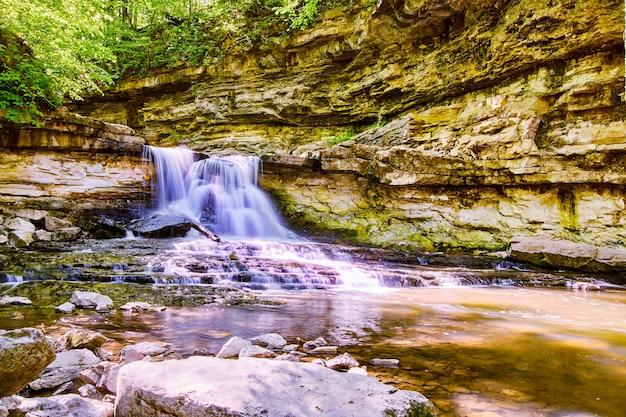 Image de la rivière avec une grande cascade dans le canyon