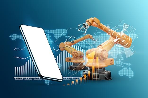Image d'un smartphone sur le fond des bras robotiques, usine moderne. concept technologique iot, usine intelligente. opération de fabrication numérique. industrie 4.0.