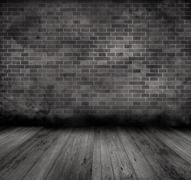Image de style grunge d'un ancien intérieur avec mur de briques et plancher de bois