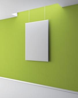 L'image vierge sur le mur plâtré vert