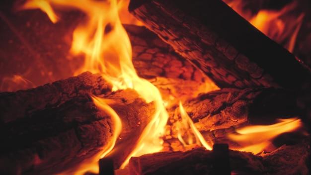 Images de gros plan 4k de bûches de bois brûlantes dans le four à pizza