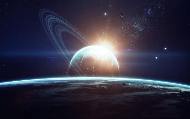 Imagination de l'espace lointain, planètes, étoiles et galaxies dans un univers sans fin