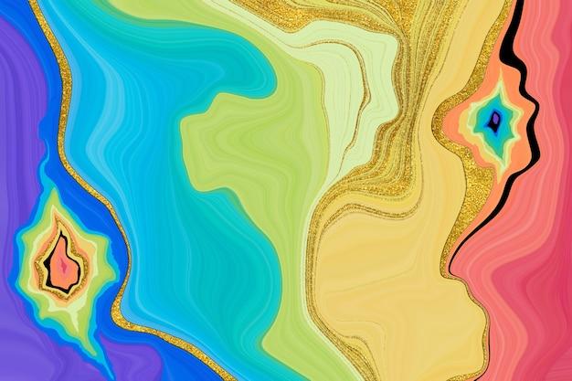 Imitation de texture d'encre liquide arc-en-ciel avec de la poussière d'or
