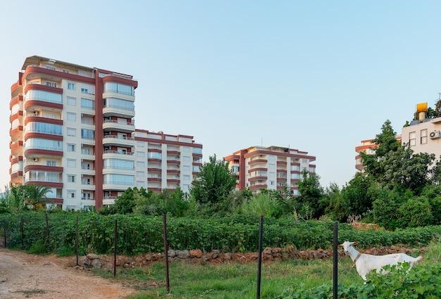 Immeubles résidentiels à alanya avec balcons. turquie. la vie des gens ordinaires. authentique.